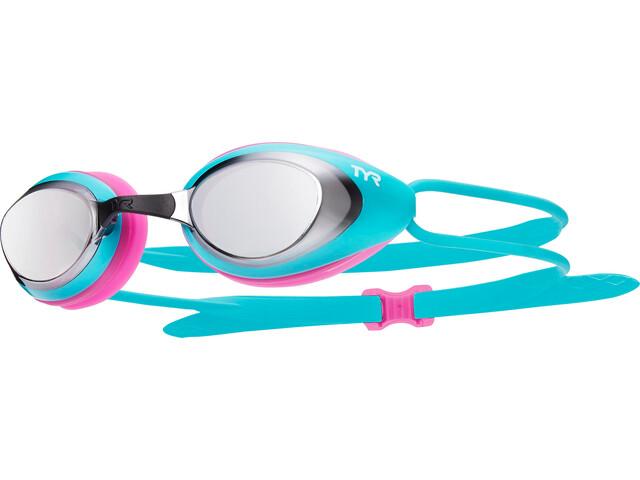 TYR Black Hawk Racing Mirrored duikbrillen Dames roze/turquoise